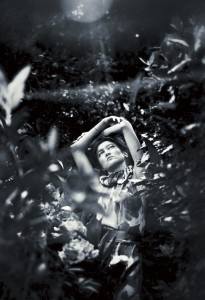 Black & white shot of girl in garden 2